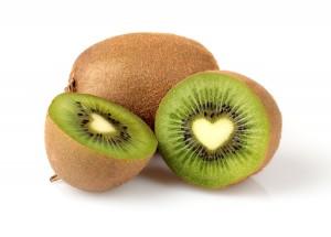 Kiwi fruit on a white background.